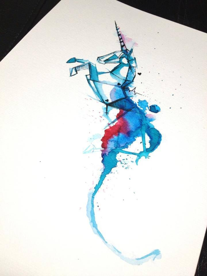 Cool blue watercolor jumping unicorn in geometric style tattoo design