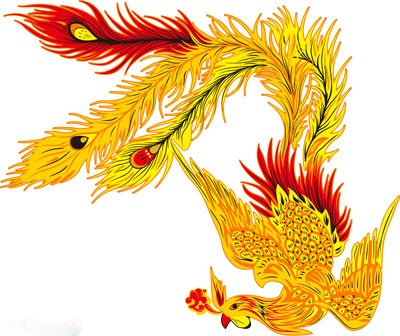 Cool bright red-and-yellow phoenix tattoo design