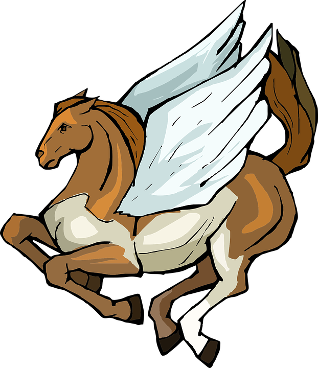 Cool brown running pegasus with white wings tattoo design