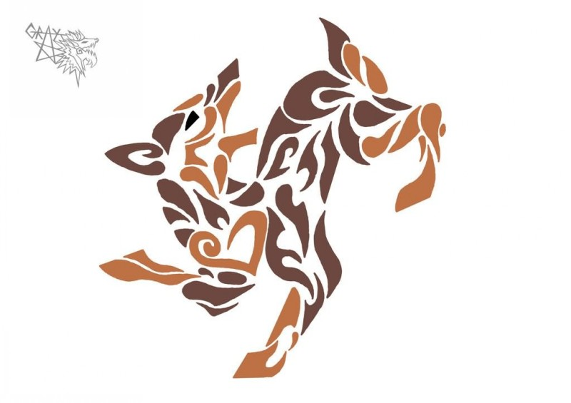 Cool brown tribal running doberman tattoo design