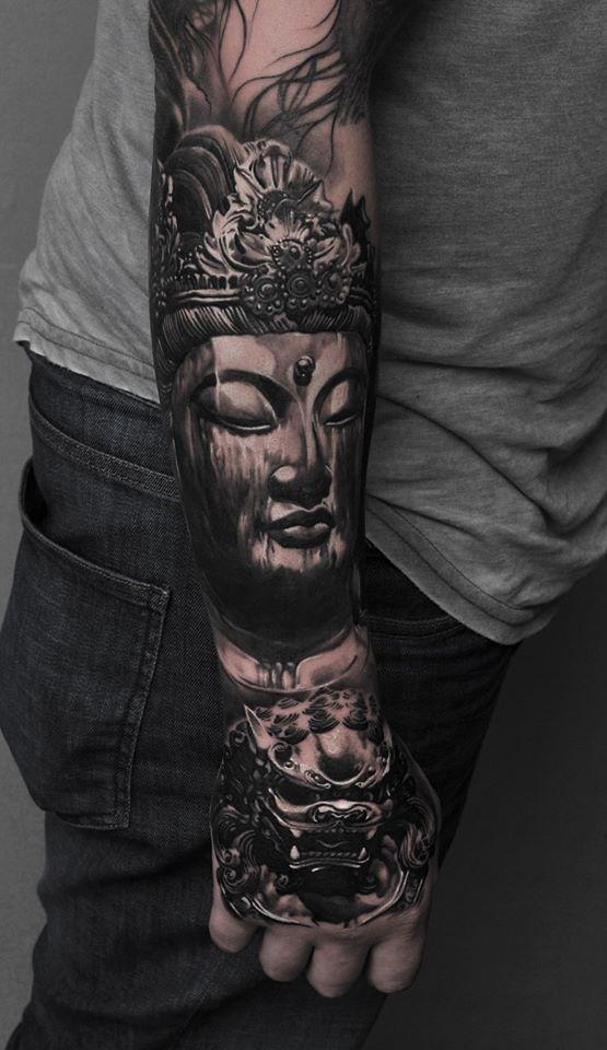 Cool buddah tattoo on forearm