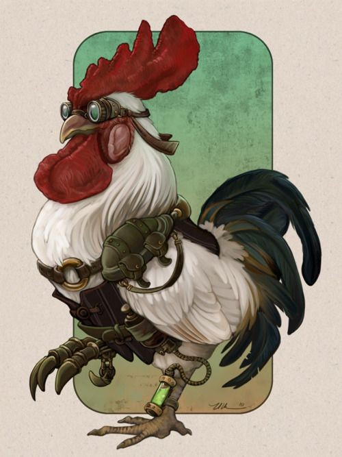 Cool colored steampunk rooster in glasses tattoo design