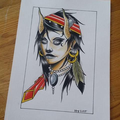 Cool colorful gypsy devil girl portrait tattoo design