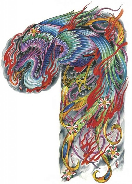 Cool colorful japanese-style phoenix tattoo design on half back and shoulder