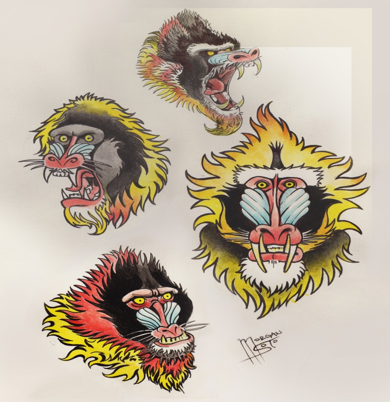 Cool colorful old school baboon heads tattoo design