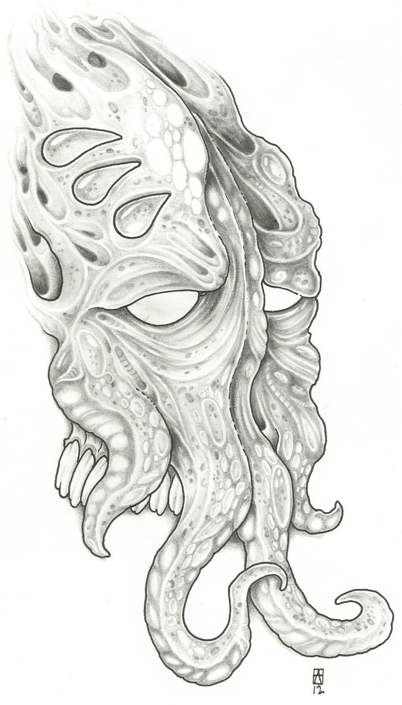 Cool demon squid tattoo design by Viking Tattoo