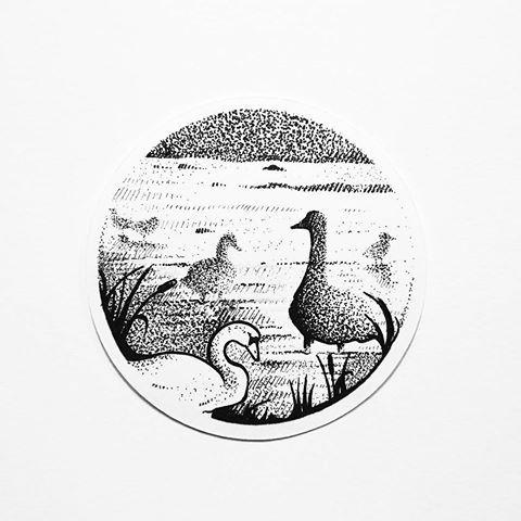 Cool dotwork-style swan resting on lake tattoo design