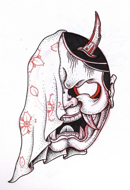 Cool dotwork devil head covered with floral-printed plaid tattoo design