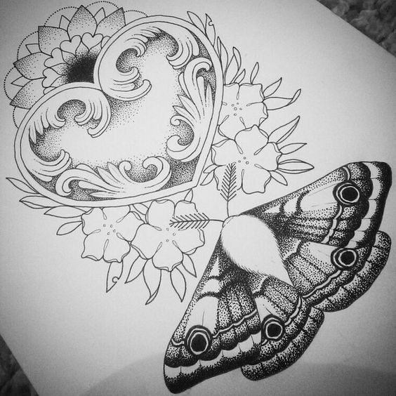 Cool dotwork moth with big heart and flowers tattoo design
