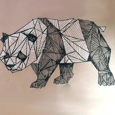 Cool Full Size Geometric Panda Tattoo Design