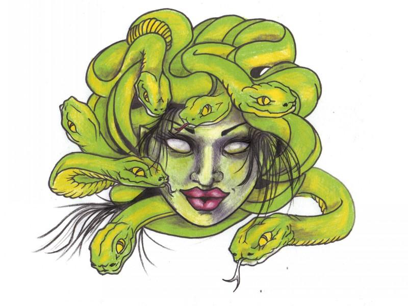 Cool Green Color Medusa Gorgona With Big Lips Tattoo Design