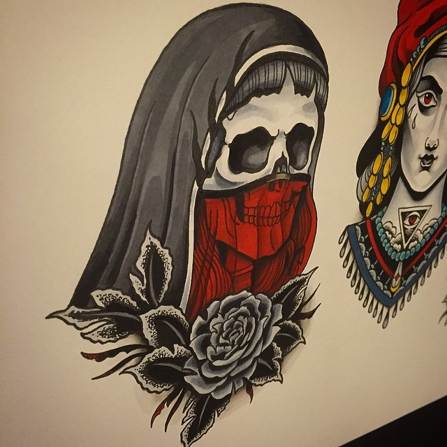Cool grey-and-red old school female death portrait with a rose tattoo design