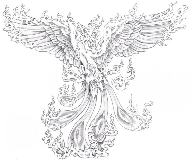 Cool grey-ink flaming spread-winged phoenix tattoo design