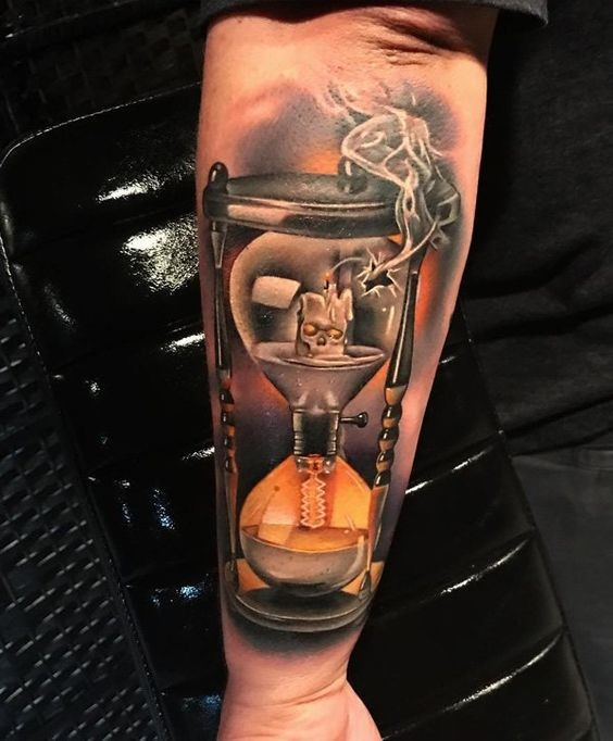 Cool idea of electric lamp hourglass forearm tattoo