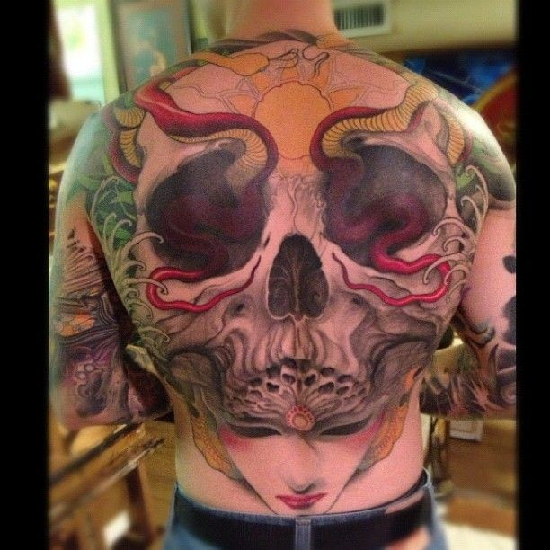 Cool idea of skull tattoo on whole back
