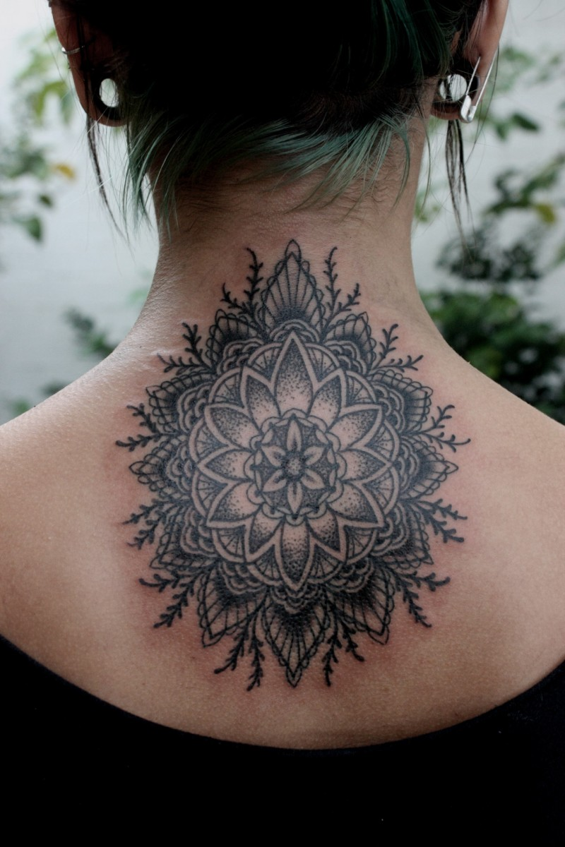 cool interesting black mandala flower tattoo on back. Black Bedroom Furniture Sets. Home Design Ideas