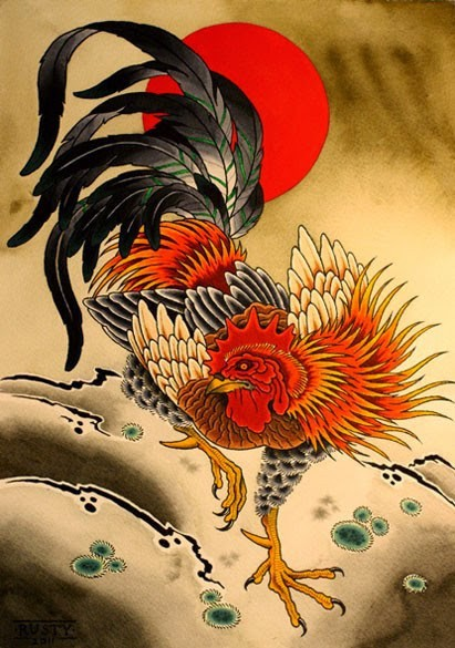 Cool japanese style rooster on red sun background tattoo design