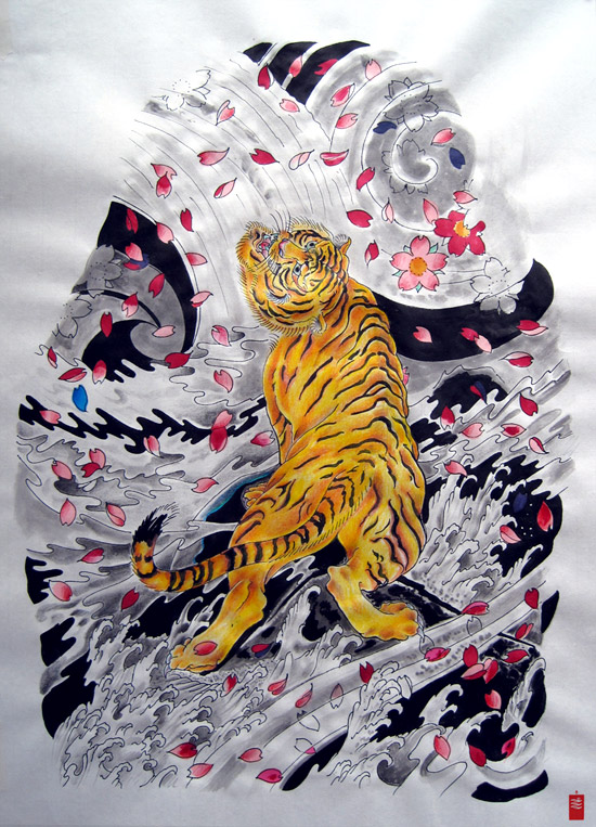 Cool japanese tiger in grey storm waves tattoo design