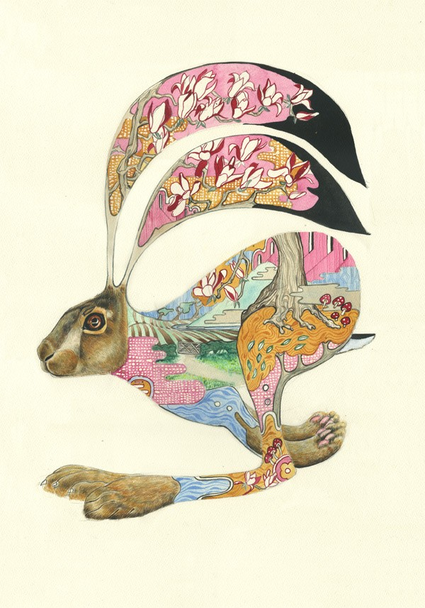 Cool jumping hare with colorful garden pattern tattoo design