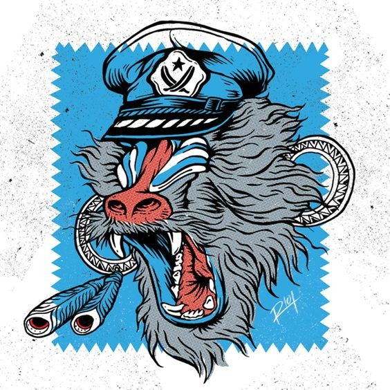 Cool marine baboon pilot in cap on blue square background tattoo design