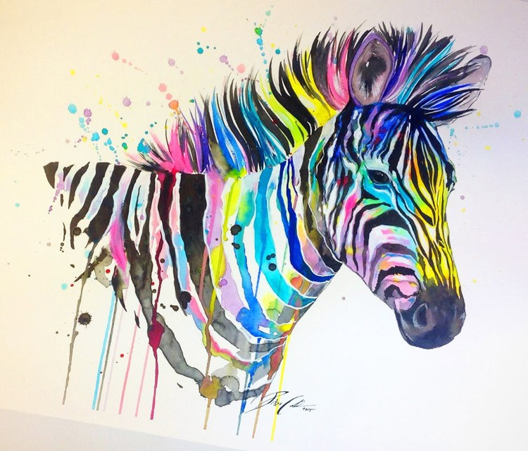 Cool montly watercolor zebra head in smudges tattoo design