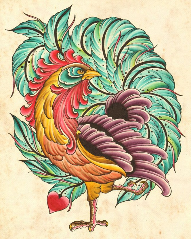 Cool multicolor rooster witk huge peacock tail tattoo design