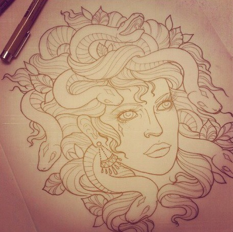 Cool new school outline medusa gorgona head tattoo design