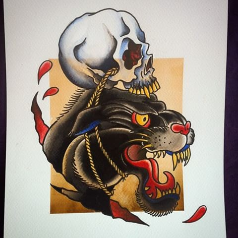 Cool old school panther with roped skull tattoo design