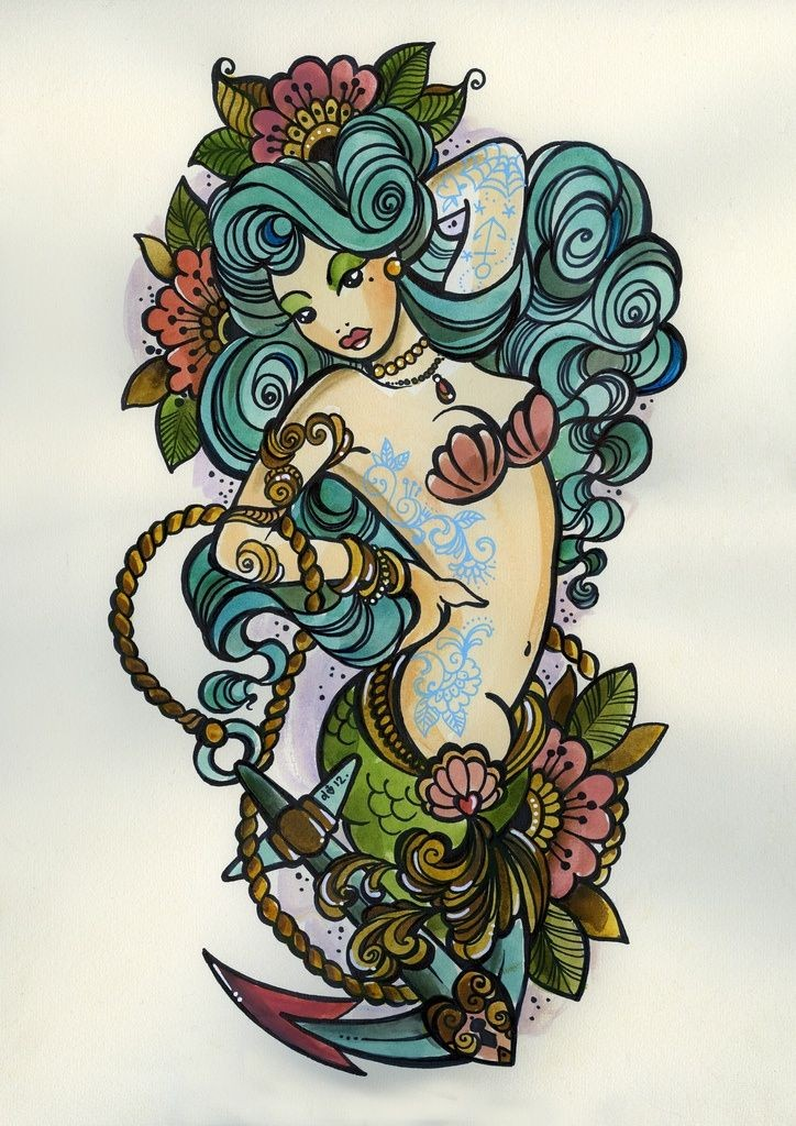 Cool old school tattooed mermaid surrounded with flowers and anchor tattoo design