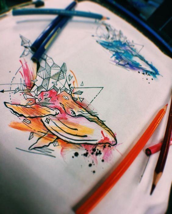 Cool orange half-geometric watercolor whale tattoo design