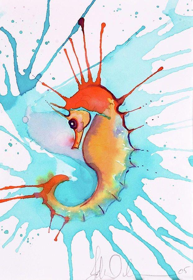 Cool orange seahorse on huge blue watercolor splash bakground tattoo design