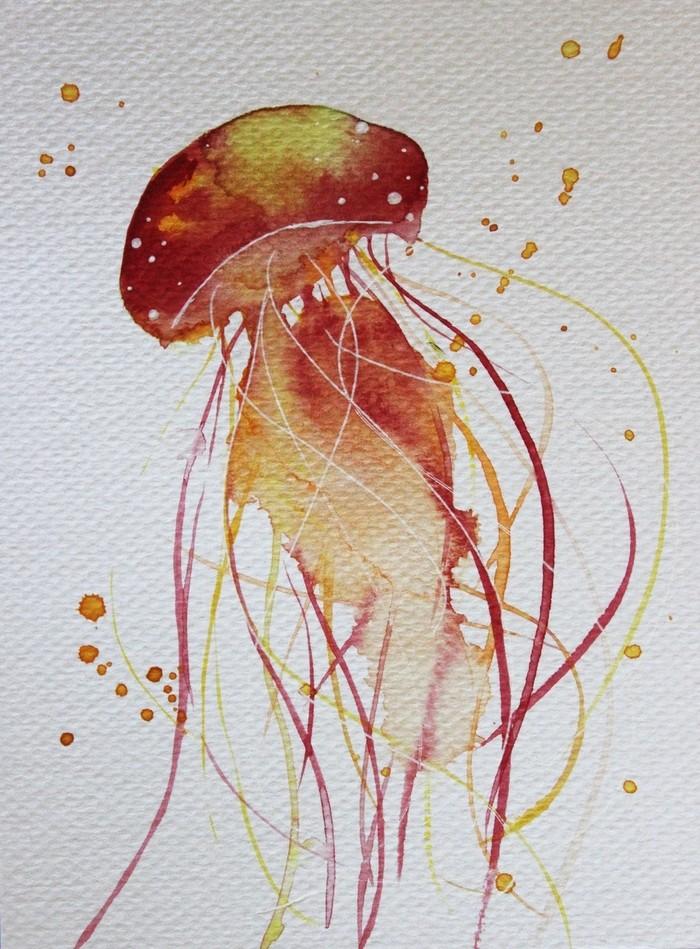 cool orange watercolor jellyfish design