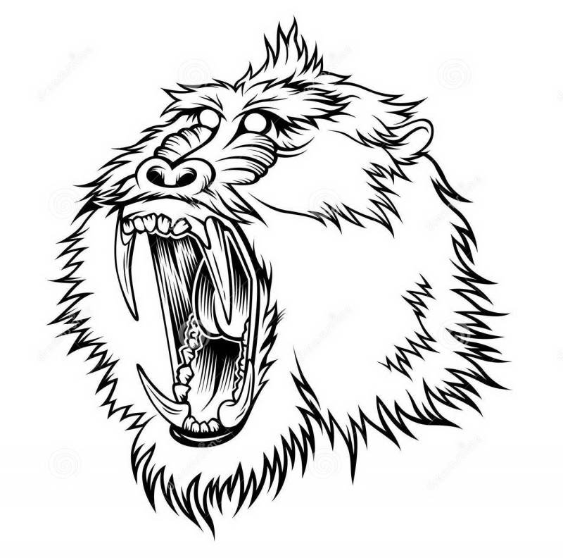 Cool outline crying baboon head tattoo design