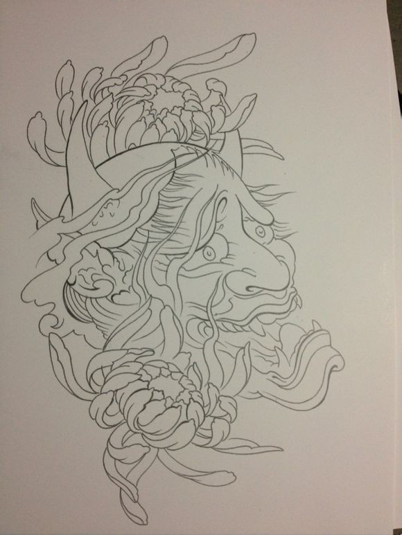Cool outline devil head with two big peony flowers tattoo design