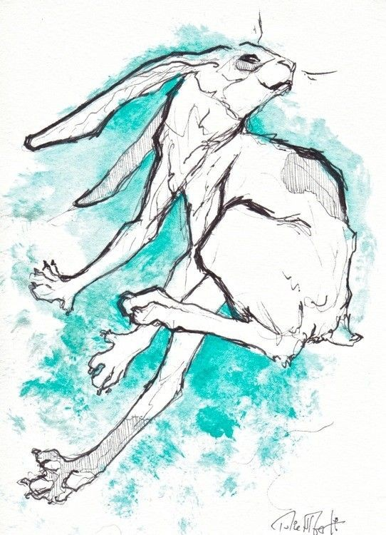Cool outline hare on turquoise splashed watercolor background tattoo design