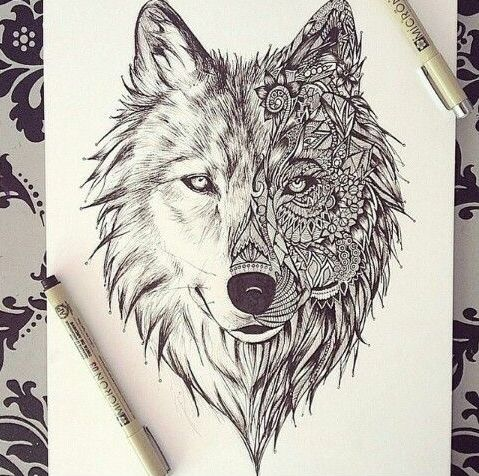 Cool pencil half-ornamented wolf head tattoo design