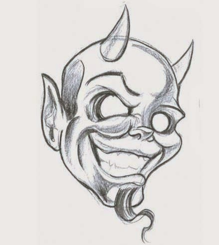 Cool pencilwork empty-eyed smiling devil tattoo design