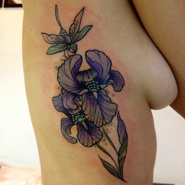Cool pretty violet iris flower tattoo on side