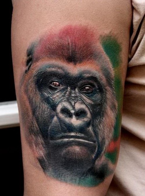 Cool realistic colot-ink gorilla head in tropics tattoo on upper arm