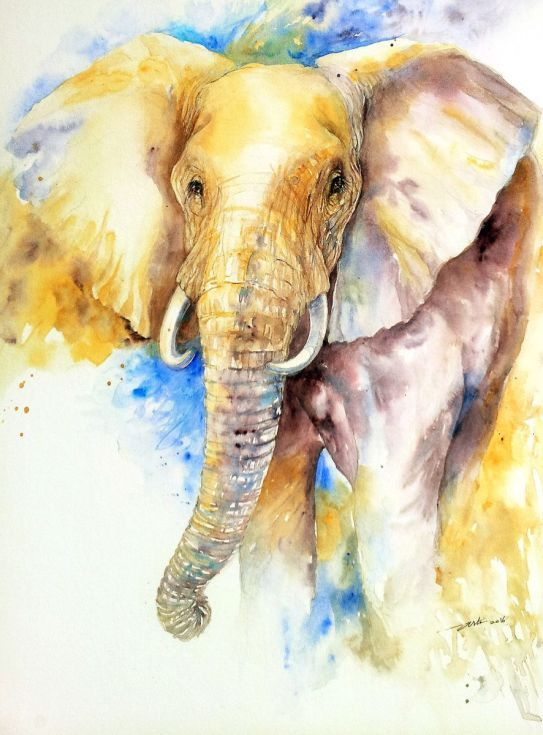 Cool realistic elephant on blue-and-yellow watercolor background tattoo design