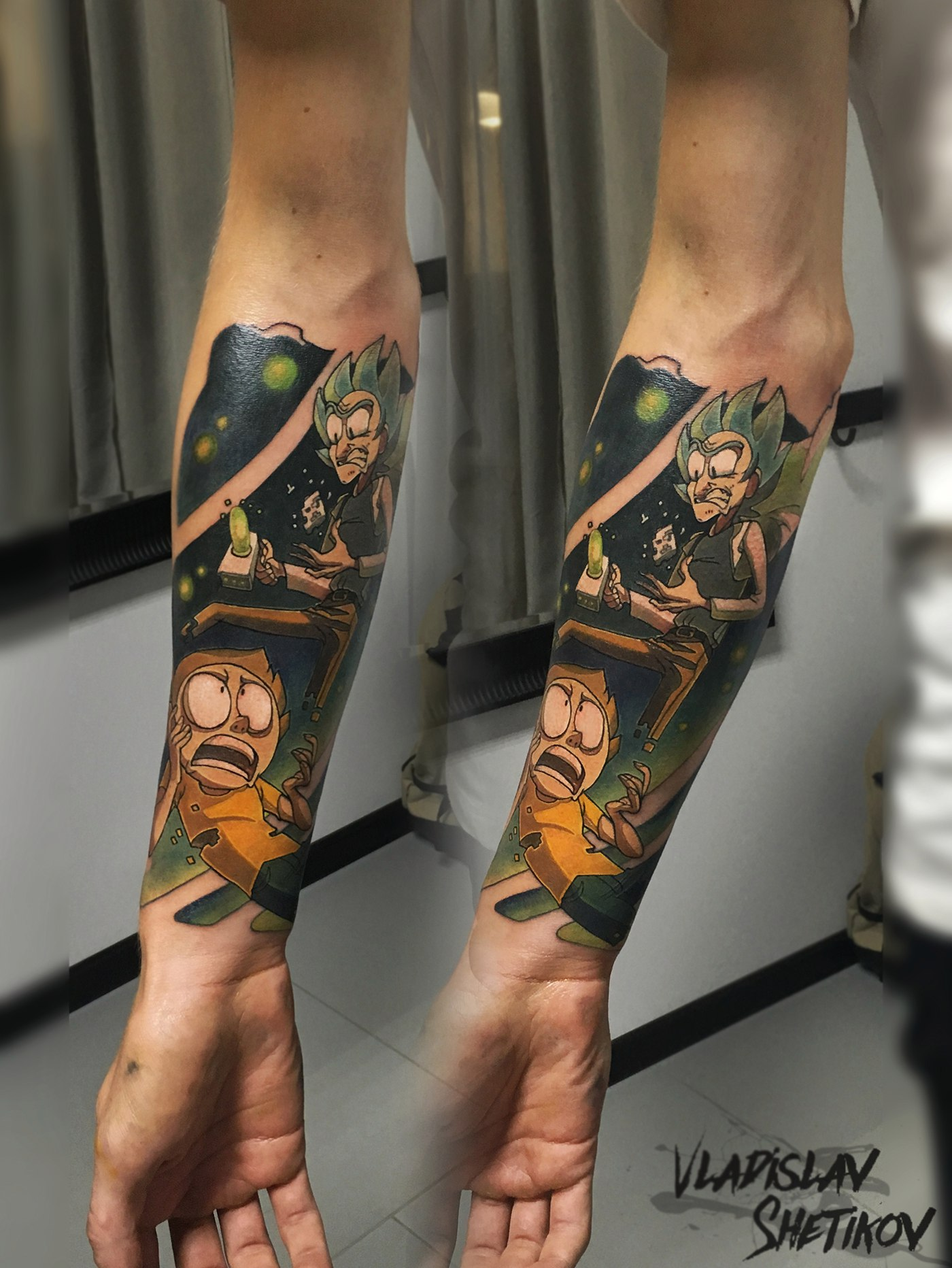 Cool rick and morty carttoon tattoo on forearm