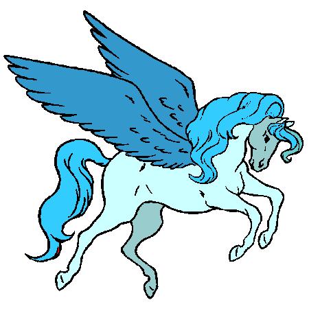 Cool running pegasus in blue colors tattoo design