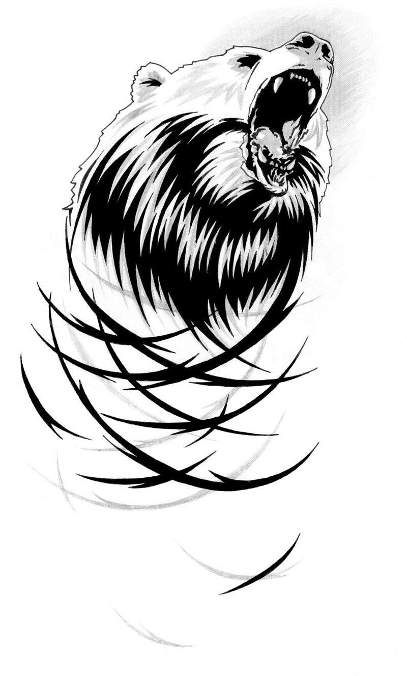 Cool screaming grizzly head with tribal vortex tattoo design