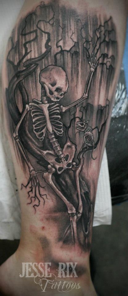 Cool skeleton tattoo on forearm