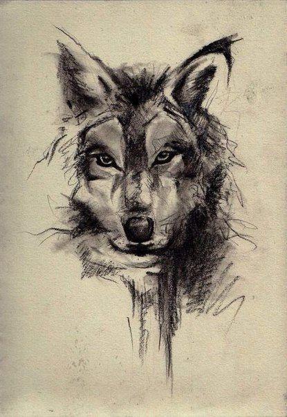 Cool strict black-pencil wolf head tattoo design