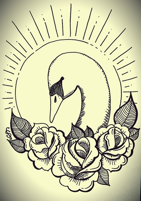 Cool swan head with roses on shining sun background tattoo design