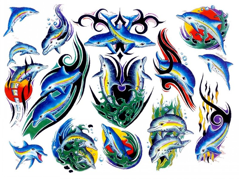 Cool traditional colorful dolphins tattoo design