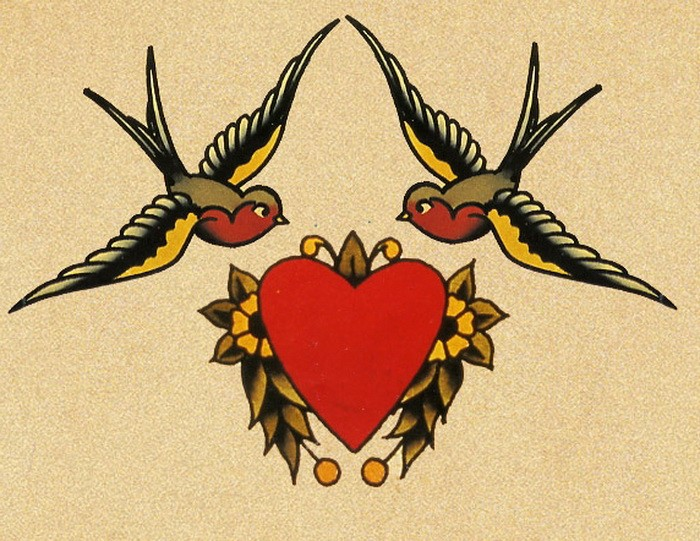 Cool traditional colorful sparrow couple and flowered heart tattoo design