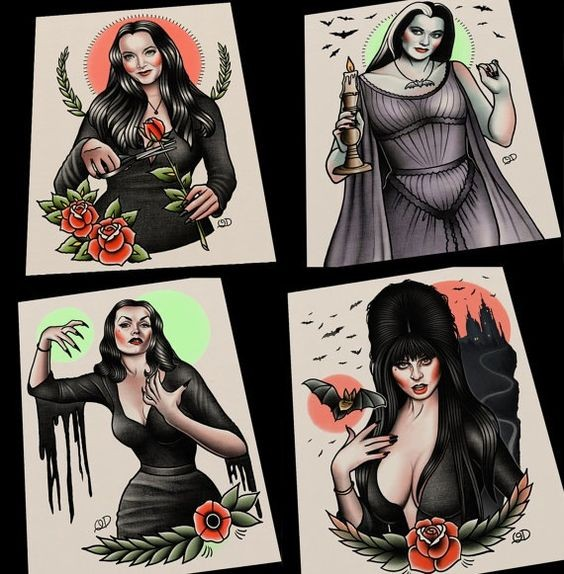 Cool traditional colorful vampire women tattoo designs