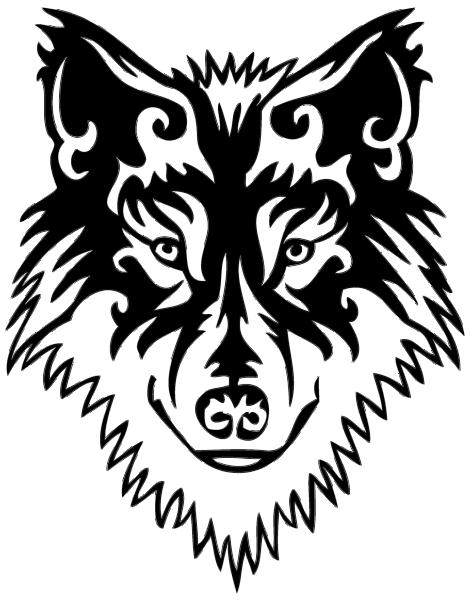 Cool tribal blak-ink wolf muzzle tattoo design